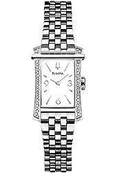 Bulova Diamond White Dial Stainless Steel Ladies Watch 96R186