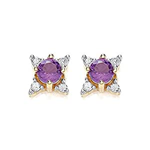 Chic 9ct White Gold Amethyst and Diamond Star Shaped Stud Earrings