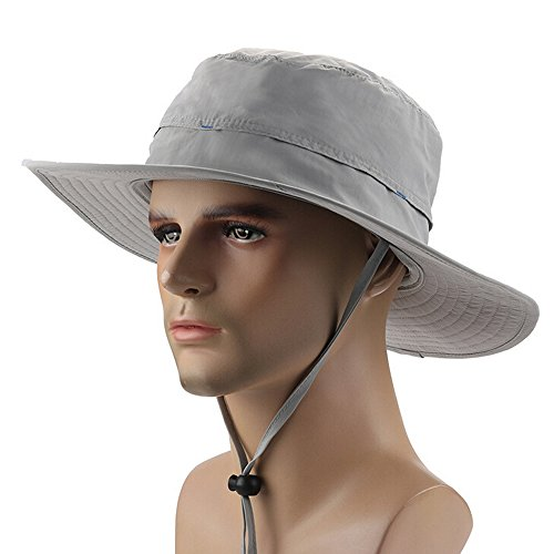 Ezyoutdoor Unisex Outdoor Collapsible Quick-dry Fishing Hat Wide Brim Boonie Cap Cowboy Bucket Hat with Chin Cord for Fishing Hunting Camping Swimming Hiking (Light (Easy Homemade Cowboy Costumes)