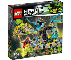 "LEGO Hero Factory - Queen Beast vs. Furno, Evo & Stormer - 44029 (Lego Hero Factory 5702015115476) ""EVO, ride to the rescue in the 6-legged walker! The QUEEN Beast has captured STORMER and is trying t..."