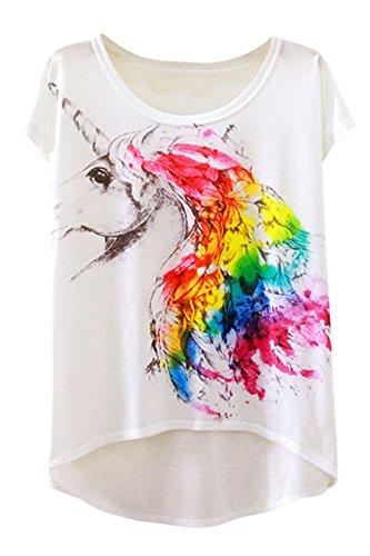 Cutiefox Womens Unicorn Horse Printed Short Sleeve Round Neck Tee Shirts Tops