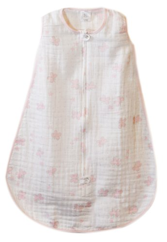 SwaddleDesigns zzZipMe Sack with 2-Way Zipper, Muslin Wearable Blanket, Butterflies; Pink 6-12MO