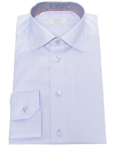 Eton Men's Shirt Blue Herringbone Formal UK 18.5