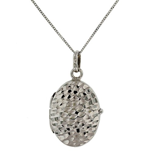 9ct White Gold Diamond Cut Oval Locket On Curb Chain 46cm