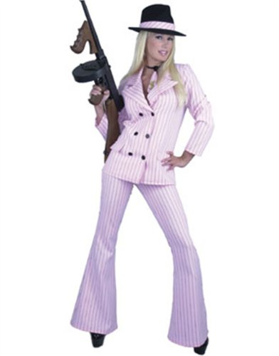 Womens Sexy Pink & Black Gangster Costume Suit