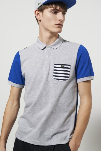 Live Short Sleeve Pique Colorblocked With Stripe Polo Shirt