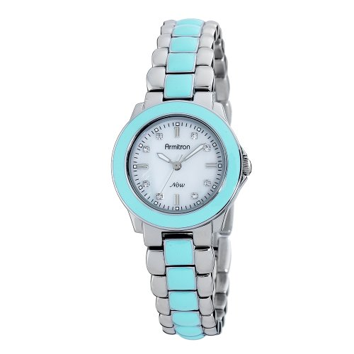 Armitron NOW Women's 753888MPSVTQ Silver-Tone and Turquoise Enamel Bracelet Watch