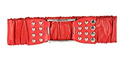 Metal Ball Studded Faux Leather Fashion Belt-EF49-RD-M