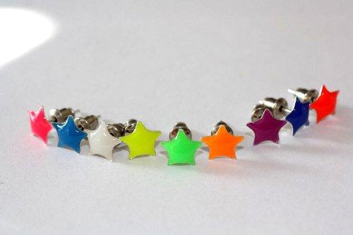 1 paar Emeco ® Klassic Neon Farbe Ohrstecker Ohrringe DH-003 (BLAU PETROL, STERN/8MM)