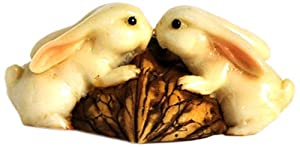 Top Collection Enchanted Story Garden Rabbits Kissing on Walnut Outdoor Decor by Top Land Trading Inc.