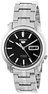 "Seiko Men's SNKK71 ""Seiko 5"" Stainless Steel and Black Dial Automatic Watch"
