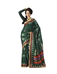 Anvi Creations Bottle Green Bhagalpuri Cotton Silk Saree (Green_Free Size) - B00TO7VX3I