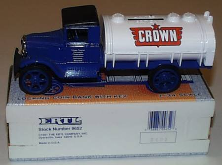 1931 Hawkeye Truck Crown Central Petroleum Locking Coin Bank With Key