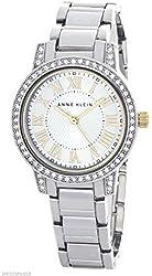 Anne Klein Women's Silver Tone Crystal Bezel Quartz Watch AK/1701SVTT