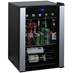 Top Selling Most Requested Solid Portable Stainless Glass Door Enclosed Dual Shelf Digital Settings Soda Beer Wine Beverage Storage Cooler Refrigerator- Compact 20 Bottle Bordeaux Capacity Home Office