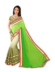 AG Lifestyle Green Crepe & Chiffon Pallu Saree With Unstitched Blouse SAV4207B