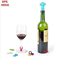 hpk silicon wine bottle stopper with 6 glass marking rings