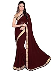 Sourbh Saree Trendy Lace Work Maroon Faux Georgette Saree (in Other Colors Also)