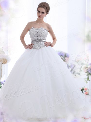 Landybridal 2013 New Style Ball Gown Strapless Court Train Tulle Ivory Wedding Dress B12144