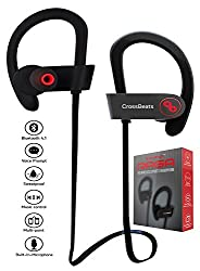 CrossBeats Raga Wireless Bluetooth Headset Headphones -IPX4 Sweatproof -Premium Sound with Bass, Noise Cancelling, Secure Fit Bluetooth V4.1, 8 Hrs Playtime | Built-in-Mic | Strong Bass| Ergonomic-Designed Ear Hooks | Soft Silicone Surface