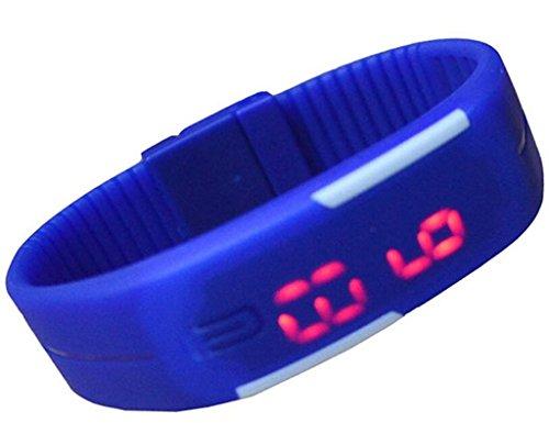 lionm Data Silicone Sport Blue Touch Screen Digitale Orologio da polso LED uomini ragazzi Unisex Orologio