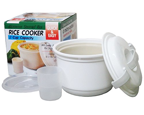 Microwave Rice Cooker & Reheatable Maker Steamer Ceramic Bowl 1 liter. # 5097 Easy & Quick (Microwave Rice Glass compare prices)
