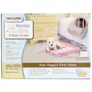 Precision Pet Snoozzy 24 By 18 By 19-Inch 2-Door Baby Crate, Size 2000, Pink front-1040416