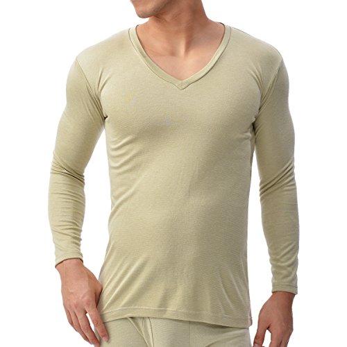 (ビー・ブイ・ディ)B.V.D. 吸湿発熱 保温 防寒 Vネック長袖Tシャツ WARM TOUCH中厚(M,L,LL) GR058PS GR058PS BE ベージュ L