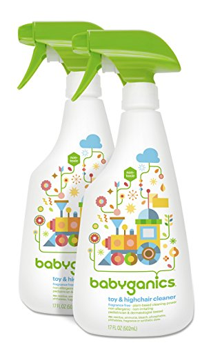Babyganics Toy & Highchair Cleaner, 17-Fluid Ounce Bottles (Pack of 2), Packaging May Vary (Babyganics Multi Surface Cleaner compare prices)