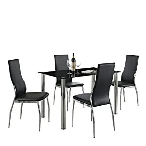 Black Glass Rectangle Dining Table Set And With 4 Faux Leather Chairs Chrome