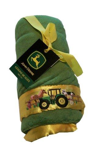 Scene Weaver Pickles John Deere Fleece Blanket with Embroidered Satin Trim - Down on the Farm Design