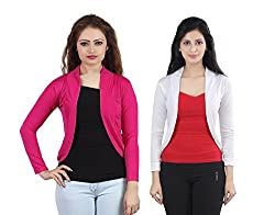Trendy combo of Pink & White Short Shrugs by Bfly