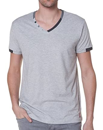 T-traxx - Tee shirt homme col V - couleur: Gris - taille: XXL