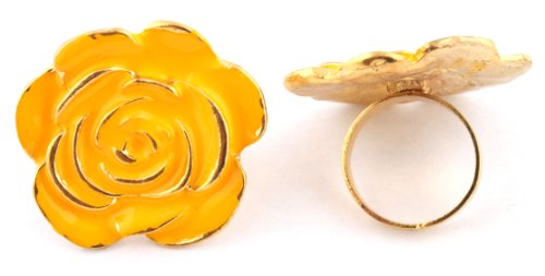 Ladies Yellow Flower Shape Metal Adjustable Finger Ring