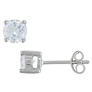 Click to buy 1 Carat White CZ Solitaire Earrings in Sterling Silver from Amazon!