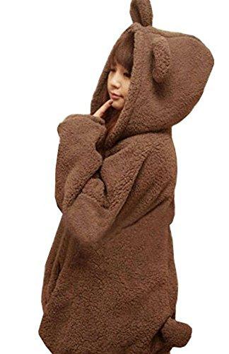 URqueen Women's Cute Bear Tail Hoodie Sweatshirt Khaki