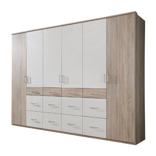 Wimex-400542-Kleiderschrank-270-210-58-cm-6-trig-mit-acht-groen-und-vier-kleinen-Schubksten-Eiche-sgerau-Nachbildung-Absetzungen-aslpinwei