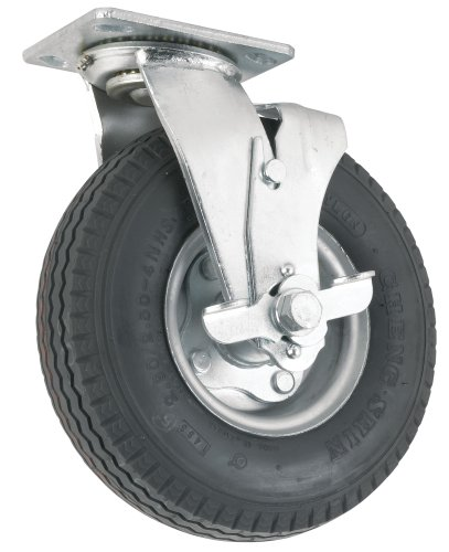 Waxman 4142755 8 Inch Pneumatic Plate Caster with Brake, Black Tire and Chrome Wheel