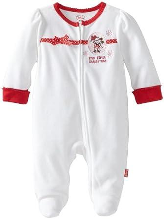 0b6c2b87c Disney Baby-Girls Newborn Minnie Mouse My First Christmas Romper, Winter  White, 6-9 Months