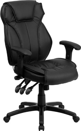 Flash Furniture High Back Leather Chair, Black Executive Desk Assembly