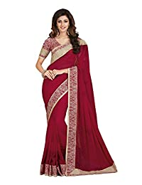 Palav Chiffon Embroidered Saree With Floral Printed Blouse (Ruby Red)