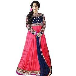 Rozdeal Women Net Salwar Suit Dress Material (Rdhp120-11001 _Pink _Free Size)