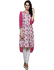 Ritzzy Women's Designer Kurta With Pink Printed Summer Crepe Georgette Fabric In Regular Fitting