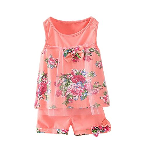 2PCS Toddler Baby Girl Floral Bowknot Vest+Shorts Kids Summer Clothes Outfit Set (Pink(1~2T)) (Summer Toddler Clothes compare prices)