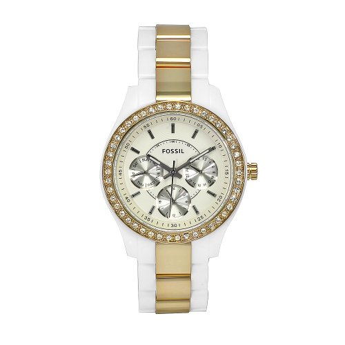 Fossil Ladies Gold Ip And White Stella Watch ES2805