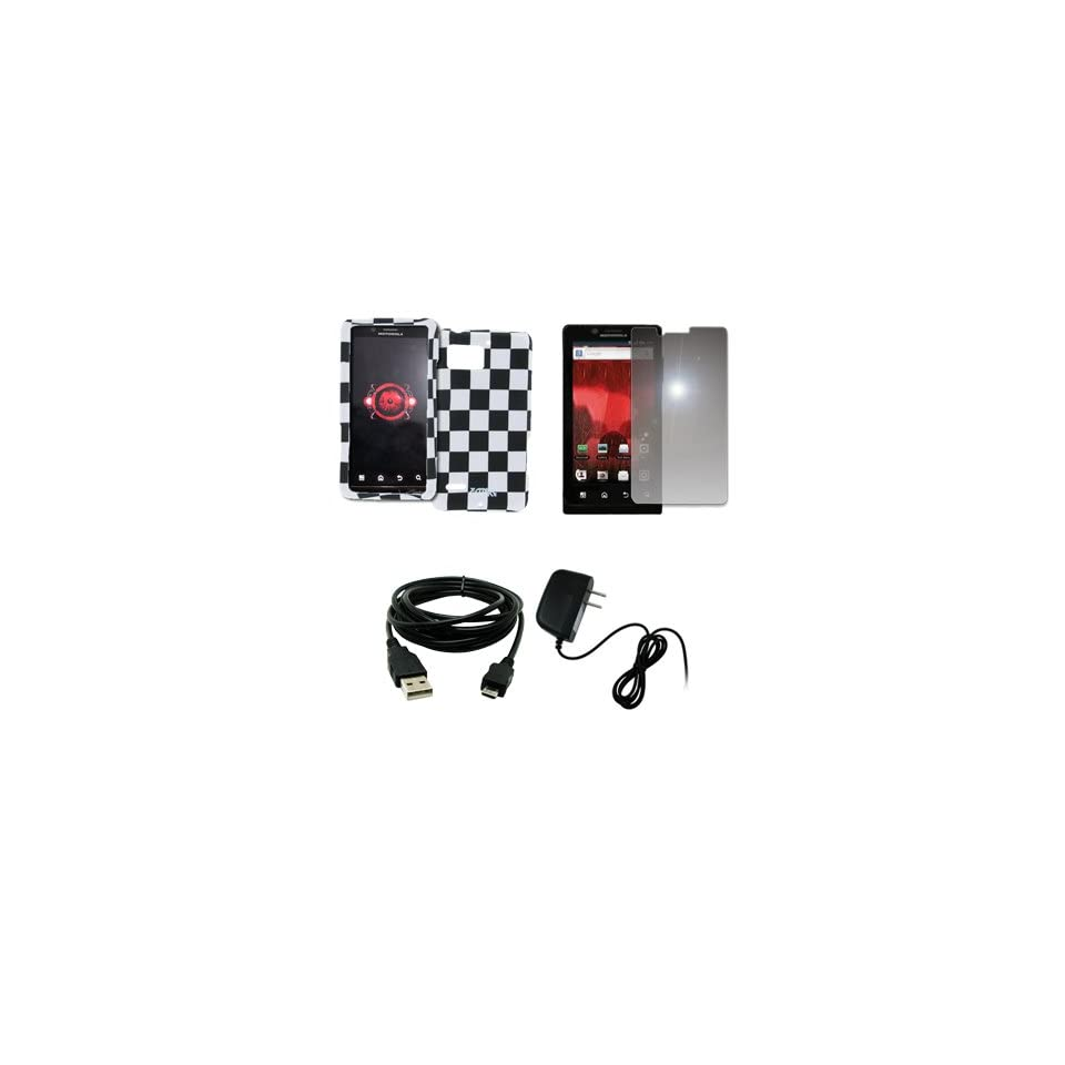 EMPIRE Black and White Checkers Design Hard Case Cover + Mirror Screen Protector + Home Wall Charger + USB Data Cable for Verizon Motorola DROID Bionic XT875