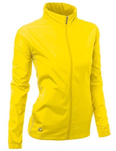 Womens Functional Basic design outdoor windbreaker zipup Jacket YELLOW Size 2XL