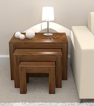 Grand, Holz, Massiv, Nussbaum, furniture Beistelltisch-Set, Beistelltisch, Couchtisch, Lampentisch