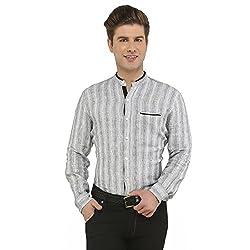 Attila Men's Casual Shirt (33062043S0_Grey Black_38)