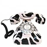 Better Tech Novelty Milk Cow Style Vintage Dial Old Fashioned Home Desk Telephone